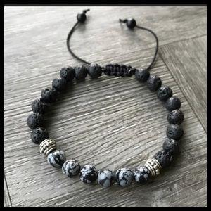 Men or women macrame lava rock & obsidian